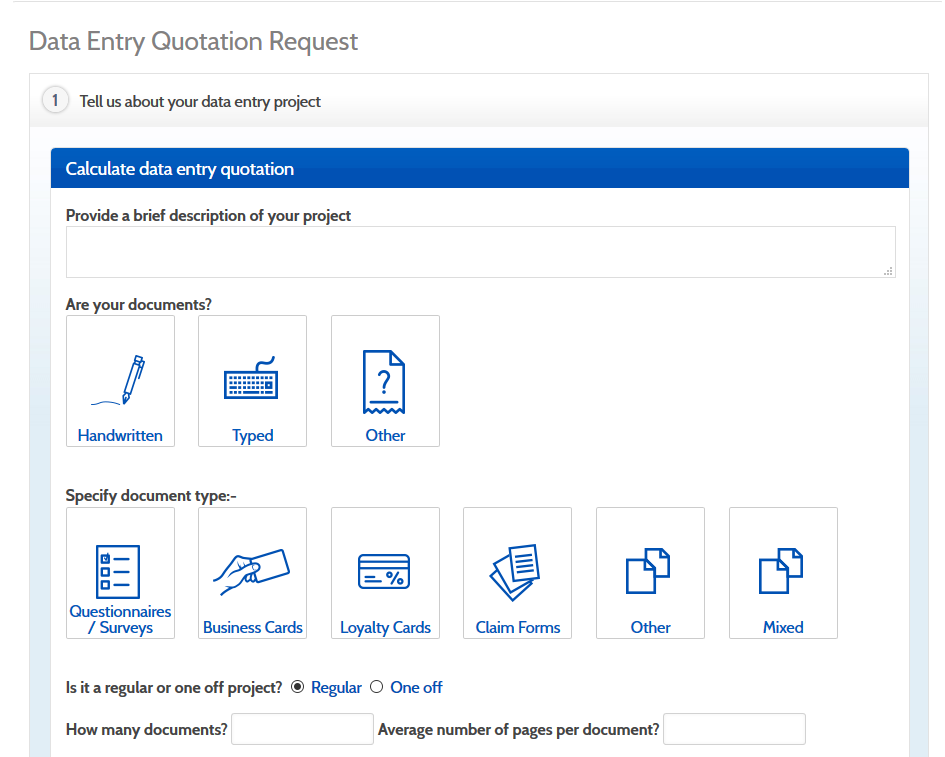 Calculate your data entry costs with our quick quote tool